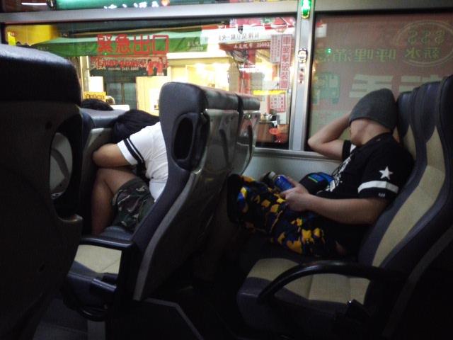 台中の市バス。逢甲夜市からの帰り道