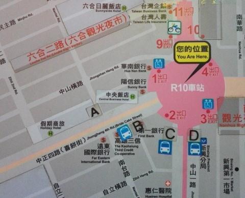 六合観光夜市出口地図